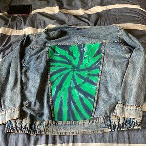 Vintage Denim Jacket with Tie Dye panel